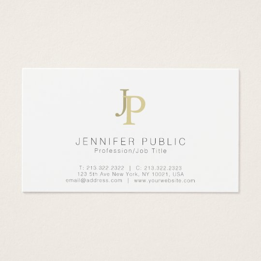Monogram Professional Modern Elegant White Gold Business Card