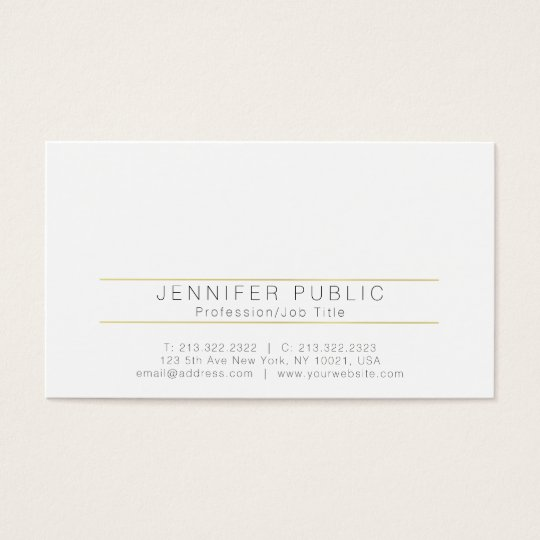 Monogram Professional Modern Plain White Gold Business Card