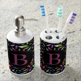 Monogram Psychedelic Geometric Pattern Soap Dispenser And Toothbrush Holder