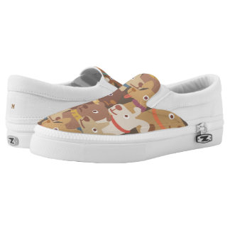 Monogram. Pups Rule! Cute Puppy Dog Pattern. Slip On Shoes