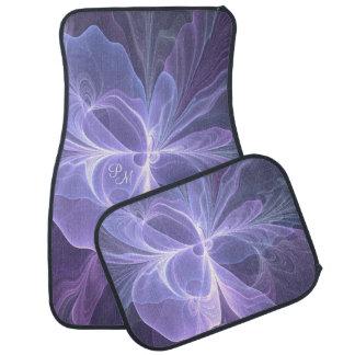 Monogram Purple Abstract Modern Fractal Car Mat