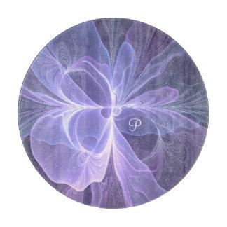 Monogram Purple Abstract Modern Fractal Cutting Board