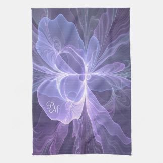 Monogram Purple Abstract Modern Fractal Tea Towel