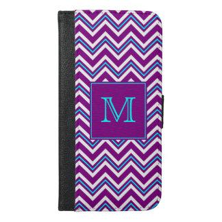 Monogram Purple and Aqua Chevron iPhone 6/6s Plus Wallet Case