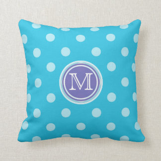 Monogram: Purple and Blue Polkadot Print Pillow