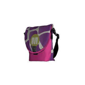 Monogram Purple and Lime Giraffe Pattern Commuter Bags