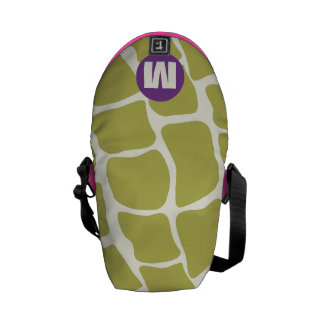Monogram Purple and Lime Giraffe Pattern Messenger Bag