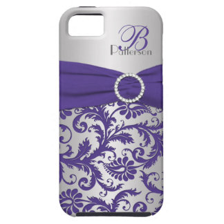Monogram Purple and Silver Damask iPhone 5 Case