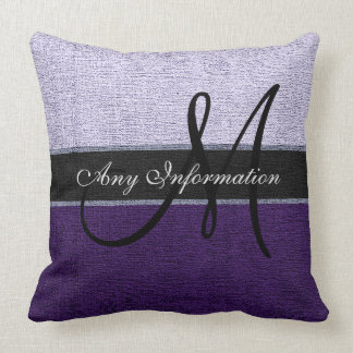 Monogram Purple and Silver Elegant Throw Pillow