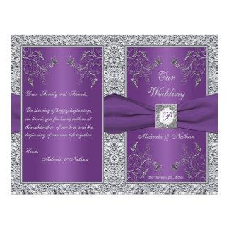 Monogram Purple and Silver Floral Wedding Program 21.5 Cm X 28 Cm Flyer