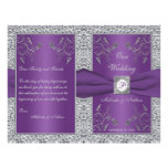 Monogram Purple and Silver Floral Wedding Program Flyers