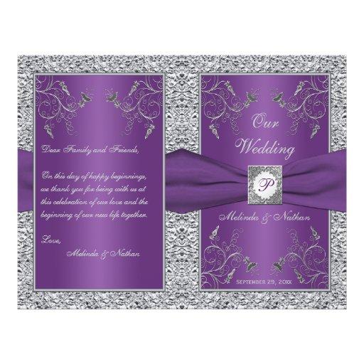 Monogram Purple and Silver Floral Wedding Program Flyer Design