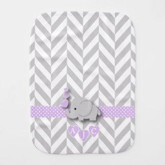 Monogram Purple And White Chevron Baby Elephant Burp Cloth