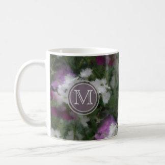 Monogram: Purple And White Verbena Floral Mug Basic White Mug