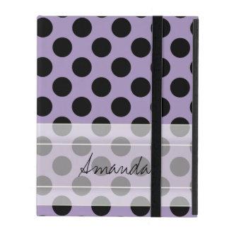Monogram Purple Black Cute Chic Polka Dot Pattern Covers For iPad