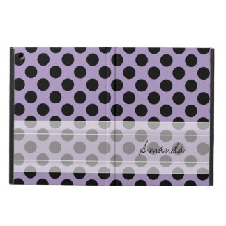 Monogram Purple Black Cute Chic Polka Dot Pattern iPad Air Cover