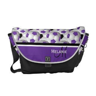 Monogram Purple Black Soccer Ball Pattern Courier Bag