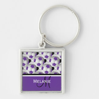 Monogram Purple Black Soccer Ball Pattern Silver-Colored Square Key Ring