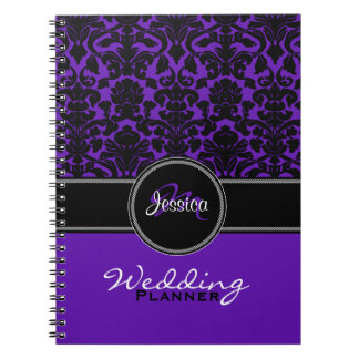 Monogram Purple Black White Damask Wedding Planner Spiral Notebook