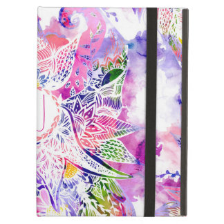 Monogram purple blue watercolor abstract floral iPad air cases