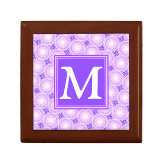 Monogram purple circles pattern gift box