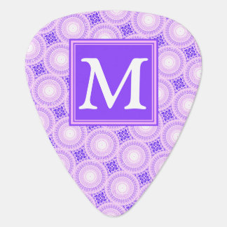 Monogram purple circles pattern guitar pick