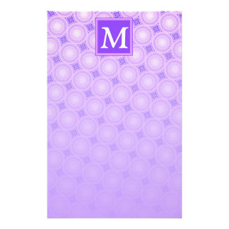 Monogram purple circles pattern stationery