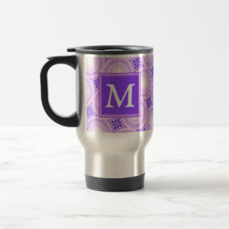 Monogram purple circles pattern travel mug