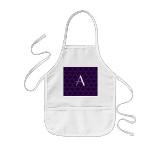 Monogram purple damask aprons