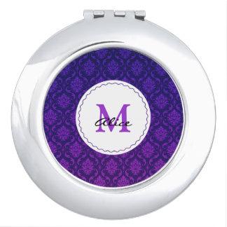 Monogram | Purple Damask Pattern Vanity Mirrors