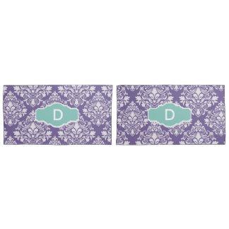 Monogram Purple Damask Pillow Cases