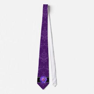 Monogram purple damask purple rose tie