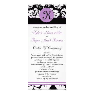 monogram purple damask Wedding program Rack Card Design