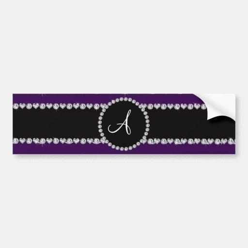 Monogram purple diamond hearts stripes bumper stickers