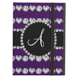Monogram purple diamond hearts stripes iPad air case