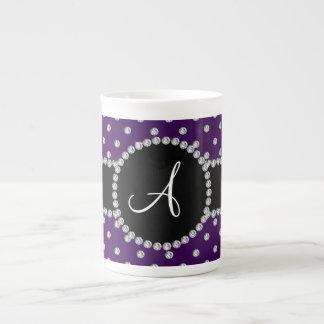 Monogram purple diamonds polka dots tea cup