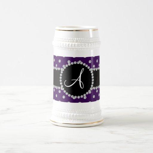 Monogram purple diamonds polka dots coffee mug