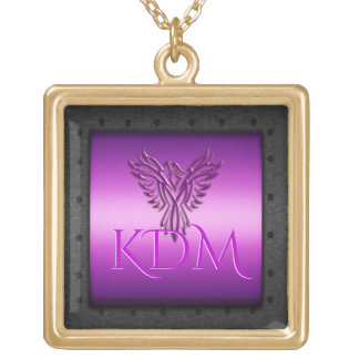 Monogram, Purple Eagle, riveted steel-effect frame Gold Plated Necklace