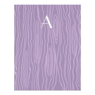 Monogram purple faux bois flyers