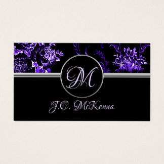 Monogram Purple Floral Business Card