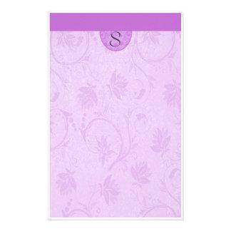Monogram Purple Floral Stationery