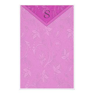 Monogram Purple Floral Stationery Paper