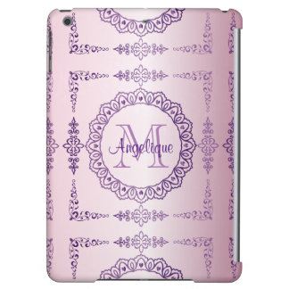 Monogram Purple Frame Fancy Lace Girly Jewel Lilac