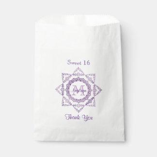 Monogram Purple Frame Fancy Lace Girly Jewel Lilac Favour Bag