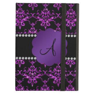 Monogram purple glitter damask cover for iPad air