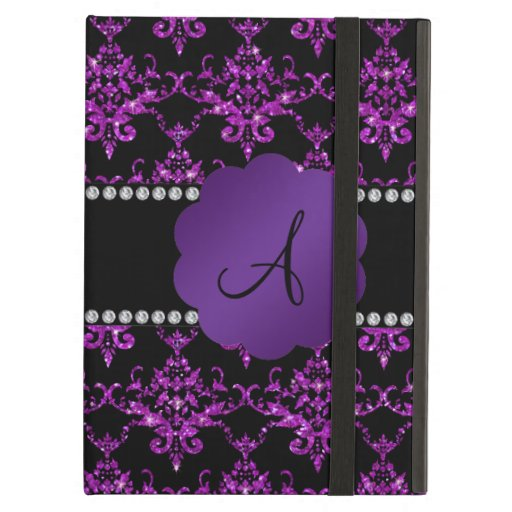 Monogram purple glitter damask iPad cases