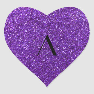 Monogram purple glitter heart sticker