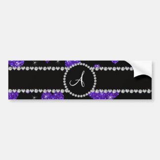 Monogram purple glitter hearts black diamonds bumper stickers