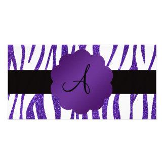 Monogram purple glitter stripes picture card