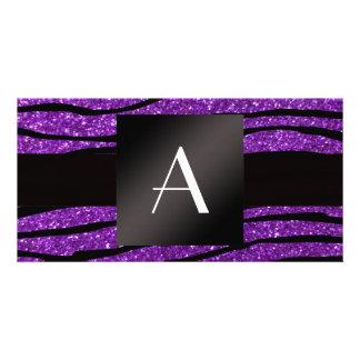 Monogram purple glitter zebra stripes customized photo card